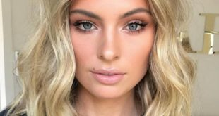 blond + make-up + kurzes welliges haar